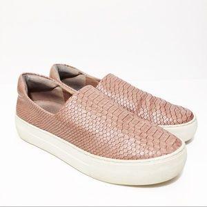 J/Slides Pink Ariana Snakeskin-embossed Sneakers